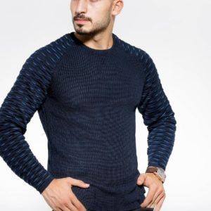 Заказать синий вязаный мужской свитер с рукавом-реглан (размер 48-54) недорого