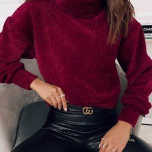 Замовити жіночий светр кольору бордо з оксамитового вельвету недорого