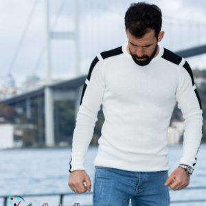 Заказать по скидке мужской свитер с контрастными вставками (размер 48-54) белого цвета