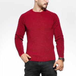 Купить цвета бордо вязаный свитер с рукавом-реглан (размер 48-54) для мужчин по низким ценам