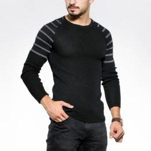 Приобрести черного цвета свитер с полосками на плечах (размер 48-54) для мужчин дешево