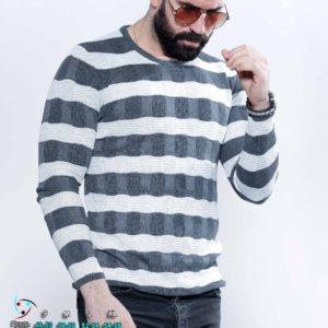 Купить мужской вязаный свитер в темно-серую полоску (размер 48-54) по скидке