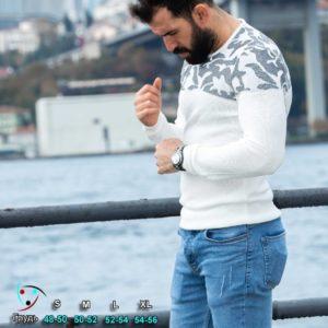Приобрести белый мужской свитер с узорной вставкой (размер 48-54) в интернете на зиму