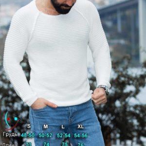 Придбати білий светр горизонтальної в'язки з рукавом реглан (розмір 48-54) для чоловіків вигідно