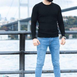 Купить по низким ценам черный свитер с круглым вырезом вязкой косичка для мужчин (размер 48-54)
