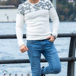Купить на подарок мужской свитер с узорной вставкой (размер 48-54) белого цвета