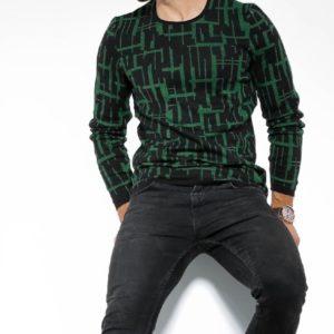 Заказать в интернете зеленый с черным Двухцветный свитер с круглым вырезом мужской на осень