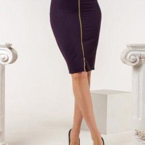 Приобрести женскую завышенную юбку со змейкой спереди (размер 42-52) фиолетового цвета в Украине