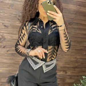 Приобрести красивую прозрачную блузку расшитая мелким бисером черного цвета для женщин в интернете