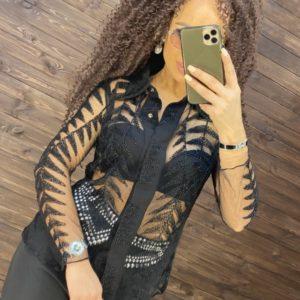 Заказать черную прозрачную блузку расшитая мелким бисером женскую по скидке