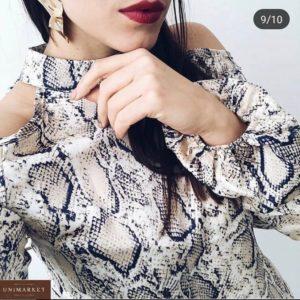 Заказать беж женскую шифоновую блузку в животный принт с открытыми плечами в интернете