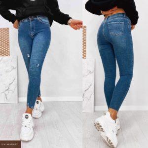 Заказать голубые женские стрейчевые джинсы с потертостями по скидке