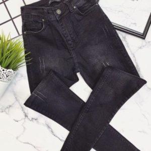 Купить женские стрейчевые джинсы с царапками цвета графит онлайн