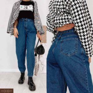 Заказать синие джинсы баллоны на высокой талии онлайн для женщин