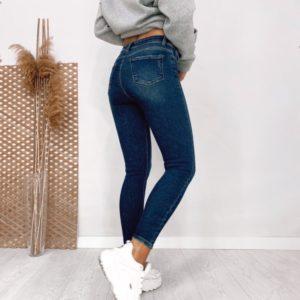 Заказать синего цвета дешево Стрейчевые джинсы скинни с высветлениями для женщин