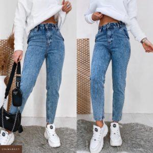 Приобрести онлайн женские голубые джинсы мом с резинкой на поясе
