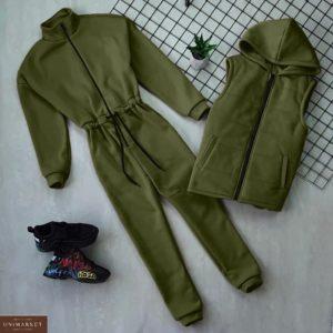 Купить цвета хаки женский комплект: комбинезон на флисе + жилетка на синтепоне по скидке