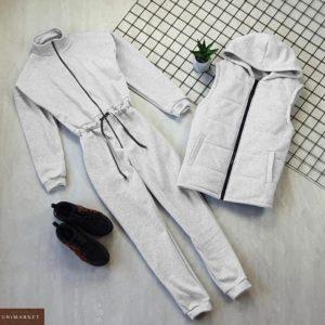 Заказать выгодно серый комплект: комбинезон на флисе + жилетка на синтепоне для женщин на зиму