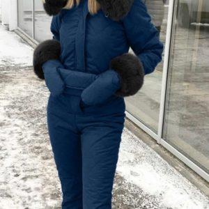 Купить синий женский лыжный комбинезон с варежками и поясной сумкой на зиму по скидке
