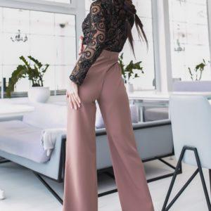 Приобрести мокко Брючный комбинезон для женщин с сеткой с камушками (размер 42-48) по скидке