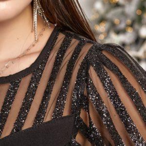 Заказать черного цвета женский Праздничный комбинезон с напылением (размер 42-48) недорого