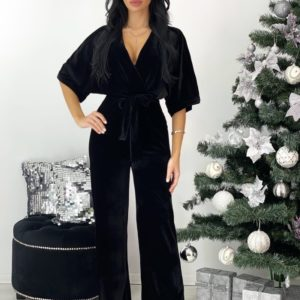 Купить черный бархатный комбинезон с поясом (размер 42-48) для женщин онлайн