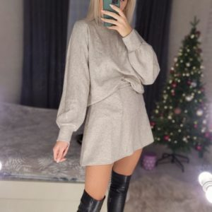 Купить женский костюм из ангоры: юбка мини и свитер (размер 42-48) бежевый онлайн