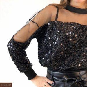 Замовити жіночу коротку кофту чорного кольору в паєтки з сіткою онлайн
