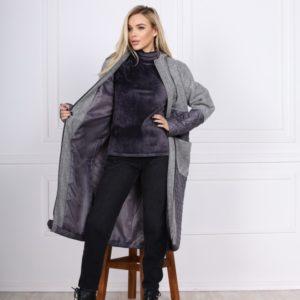Заказать серую комбинированную куртку-кардиган с карманами (размер 42-48) для женщин онлайн