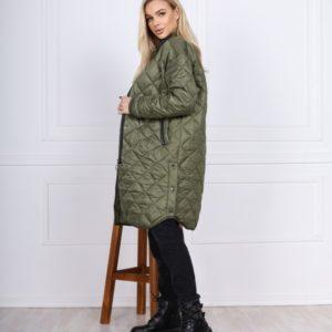 Заказать цвета хаки теплую женскую стеганую куртку-рубашку на молнии недорого