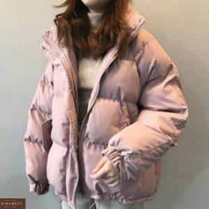 Заказать цвета пудра женскую Короткую объемную куртку из плащевки недорого