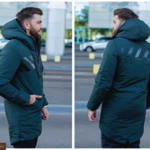 Заказать зеленую удлиненную мужскую куртку из турецкой плащевки аляска (размер 46-52) дешево
