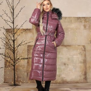 Купить женскую длинную куртку цвета баклажан на змейке с мехом (размер 42-48) недорого