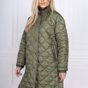 Купить по скидке женскую теплую стеганую куртку-рубашку на молнии цвета хаки