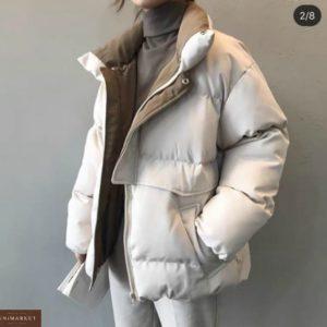 Купить беж женскую зимнюю объемную короткую куртку недорого
