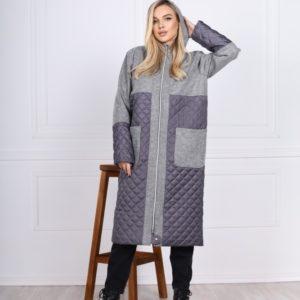 Заказать комбинированную женскую куртку-кардиган с карманами (размер 42-48) серого цвета дешево