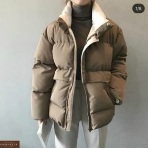 Приобрести цвета мокко женскую зимнюю объемную короткую куртку онлайн
