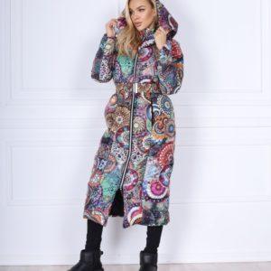 Купить разноцветную теплую куртку на молнии с поясом-резинкой для женщин (размер 42-48) выгодно