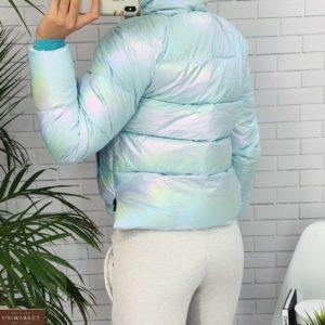 Заказать голубую короткую куртку для женщин с переливами недорого