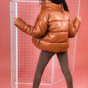 Приобрести онлайн женскую тёплую зимнюю куртку из эко кожи рыжего цвета