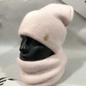 Заказать пудра женский набор из ангоры с шерстью: шапка+шарф в Украине