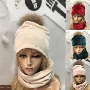 Заказать беж, изумруд, бордо набор из двойного велюра: шапка+шарф для женщин онлайннабор из двойного велюра: шапка+шарф