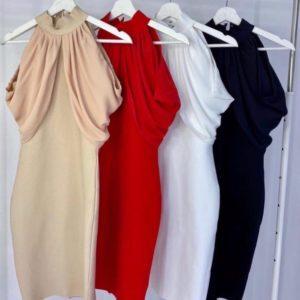 Придбати червоне, біле, беж, чорне елегантне плаття під шию для жінок з відкритими плечима недорого