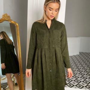 Купить хаки платье-рубашка женское оверсайз из микровельвета (размер 42-48) по скидке