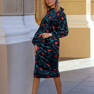 Заказать черное бархатное женское принтованное платье с открытой спиной (размер 42-54) в интернете