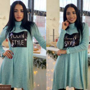 Купить голубое женское принтованное платье из трикотажа рубчик в интернете
