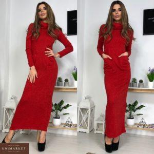 Заказать длинное женское платье гольф из ангоры красного цвета по скидке