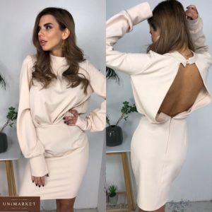 Замовити пудра жіноче плаття з відкритою спиною і довгим рукавом в інтернеті