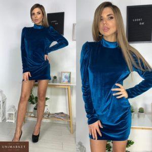 Приобрести морского цвета женское бархатное платье мини под шею дешево