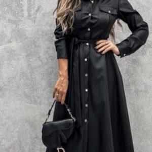 Заказать женское черное платье-рубашка из эко кожи длины миди (размер 42-50) онлайн